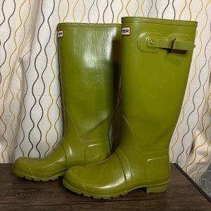 Hunter Green Tall Rubber Boots Unisex Sizes 9M 10F